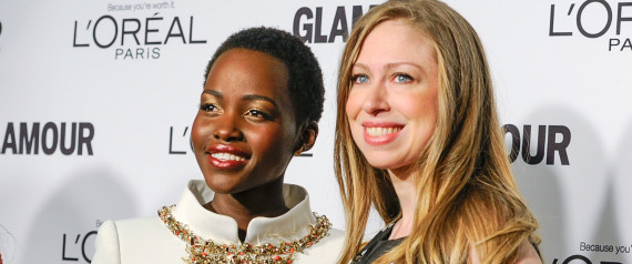 Awardees Lupita Nyong'o and Chelsea Clinton. Photo via Huffington Post.