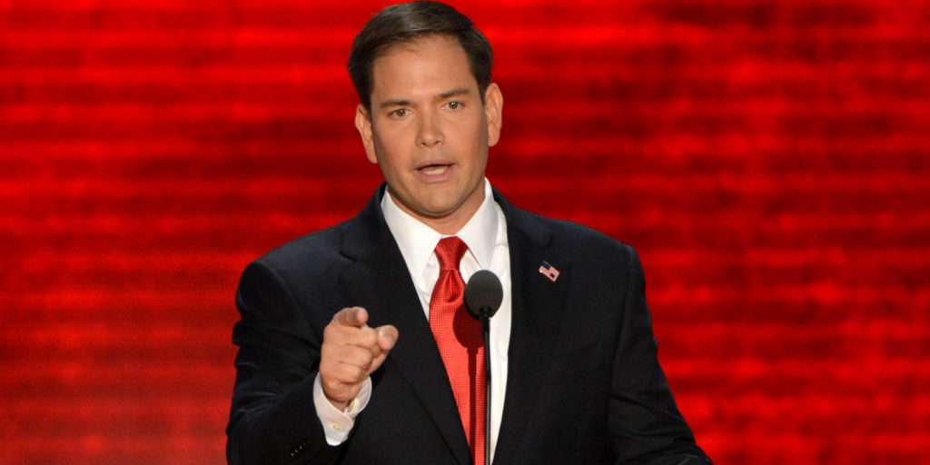 US Senator from Florida Marco Rubio addresses the audience at the Tampa Bay Times Forum in Tampa, Florida, on August 30, 2012 on the final day of the Republican National Convention (RNC).