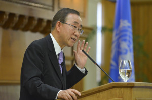 On Friday, Ban Ki-moon spoke at Stanford to celebrate the signing of the U.N. Charter in San Francisco 70 years ago. (Courtesy of Rod Searcey)