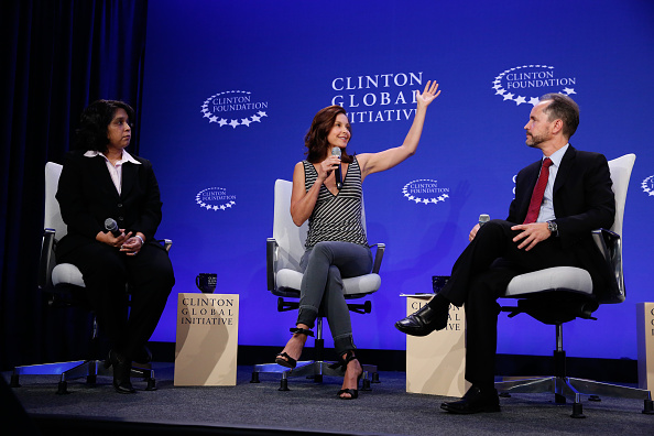 (L-R) Anu Madgavkar, Ashley Judd and Gary Cohen panel Breakout Session: The Economic Implications of Gender-Based Violence - 2015 Clinton Global Initiative's Annual Meeting (Photo by JP Yim/Getty Images)