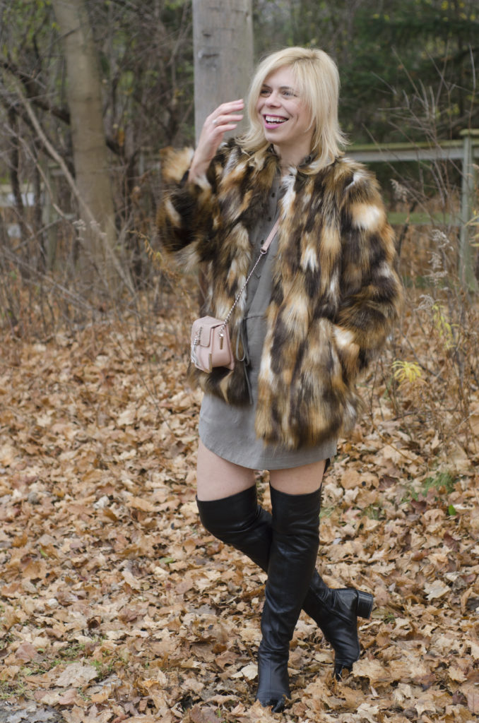 Fur Coat: Zara, Bag: Ever New CA, Dress: Club Monaco, Boots: Zara