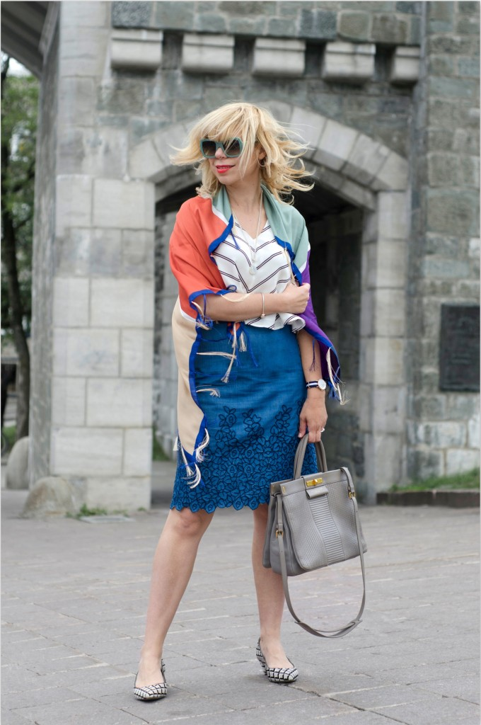 Skirt: Club Monaco, Top: Club Monaco, Shoes: Nine West, Scarf: Mango, Sunnies: Prada, Necklace: Moonstone Magic, Bag: Marc Jacobs, Bracelete: Soufeel Jewelry