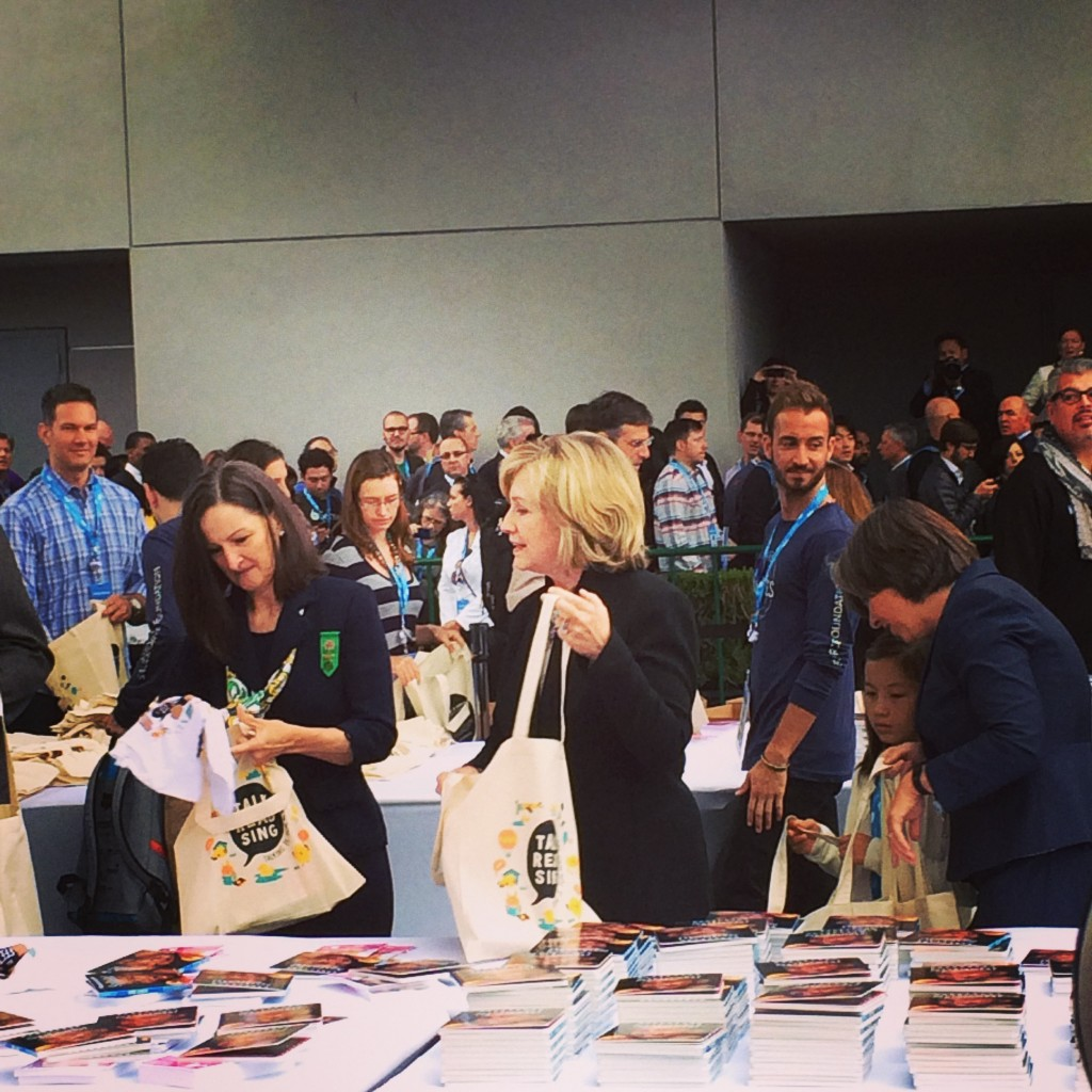 Hillary Clinton's showcasing Clinton Foundation's literacy program Too Small to Fail- photo credit Mira Veda