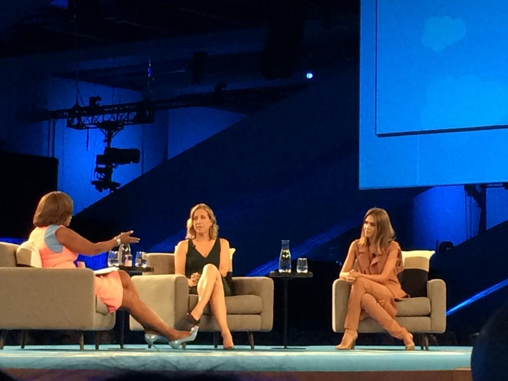Gayle King interviews Jessica Alba and Susan Wojcicki at Dreamforce in San Francisco. Photo credit Mira Veda