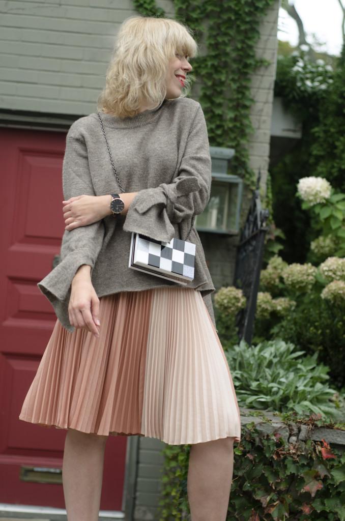 Skirt: BCBG, Knit: Zara, Boots: French Connection, Watch: Aldo, Watch: Daniel Wellington